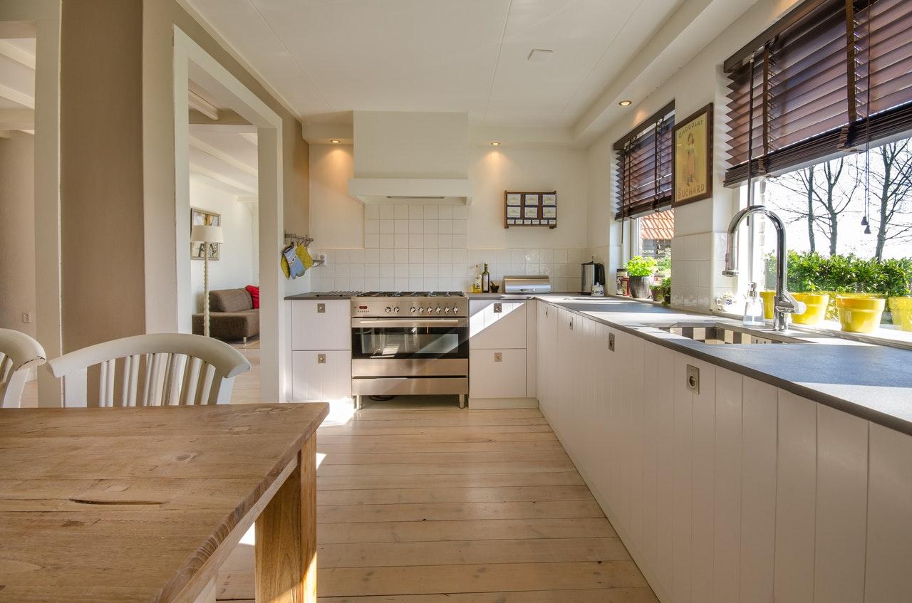 Beautiful and spacious wood-paneled kitchen.