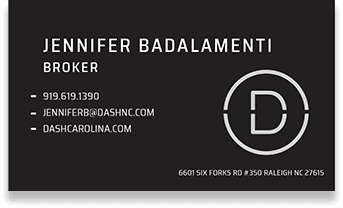 black business card with white text and logo