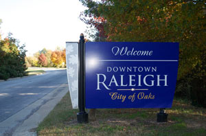 Welcome to Downtown Raleigh sign.