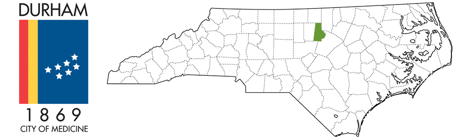 Durham County NC Map and Logo