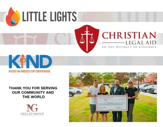 Little Lights | Christian Legal Aid | KIND | Thank you for serving our community and the world | Nellis Group holding giant check