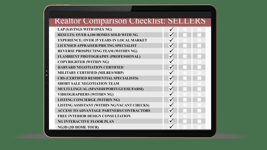 iPad displaying Realtor Comparison Checklist