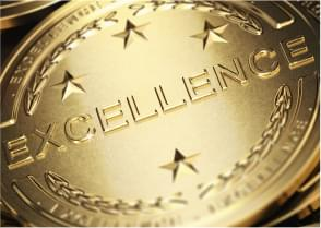 gold badge with word 'excellence' on it