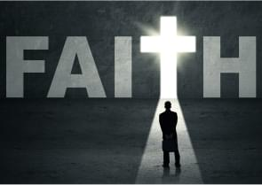 black and white photo with sun shining behind word 'faith'