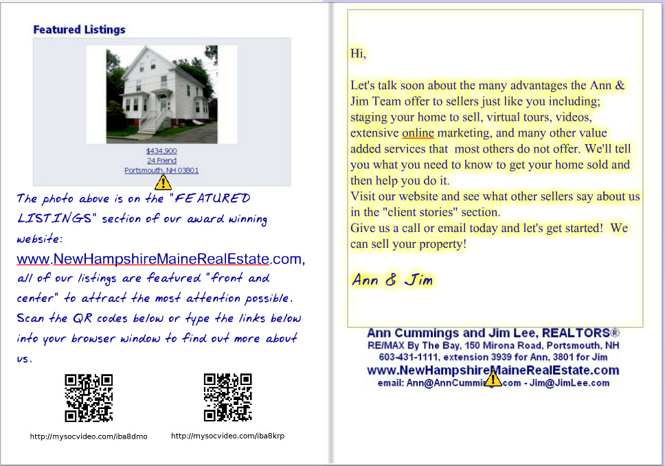 inside of card with letter written referring to selling the home