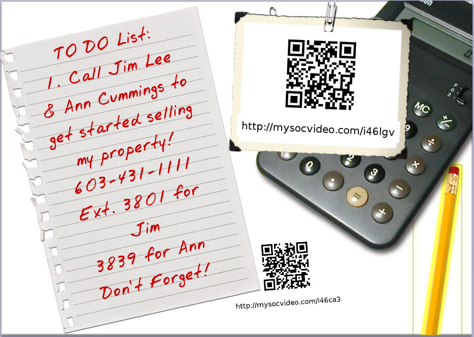 post card with contact info and QR codes