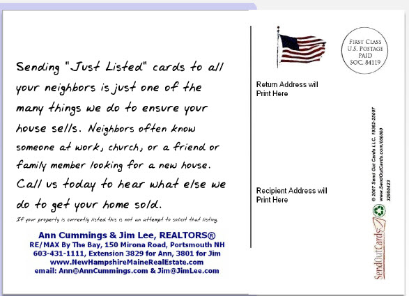 note to client on back of post card