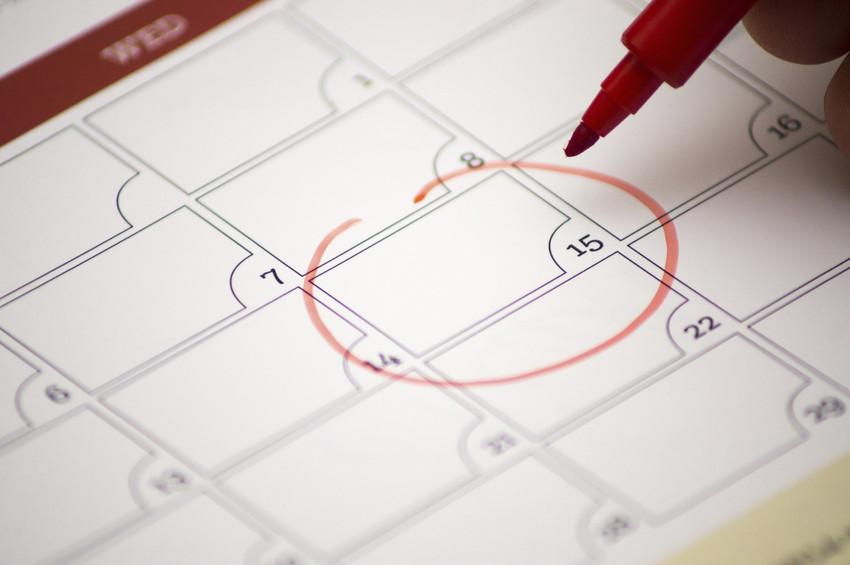 date circled on a calendar