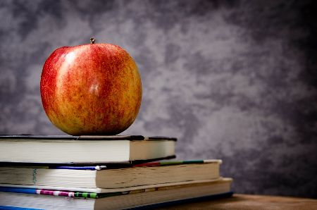 An apple sitting on top of three thin textbooks with a chalkboard in the background.