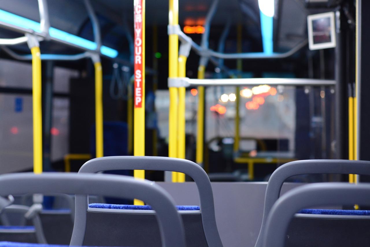 Empty bus at twilight.
