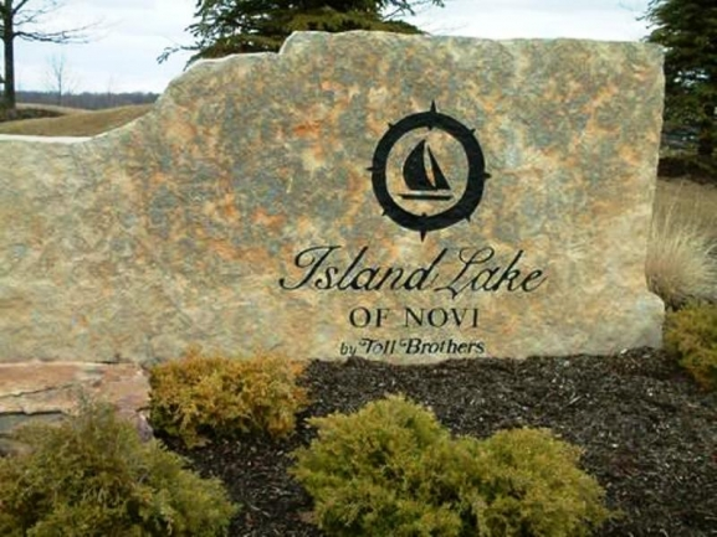 Island Lake Arbors Condos of Novi Michigan. Subdivision entrance.
