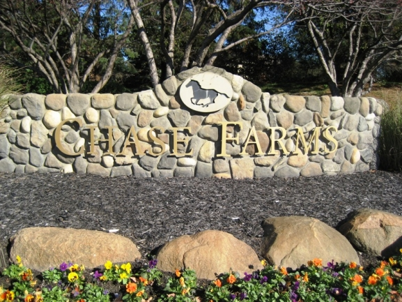 Chase Farms neighborhood, Novi MI. Subdivision entrance.