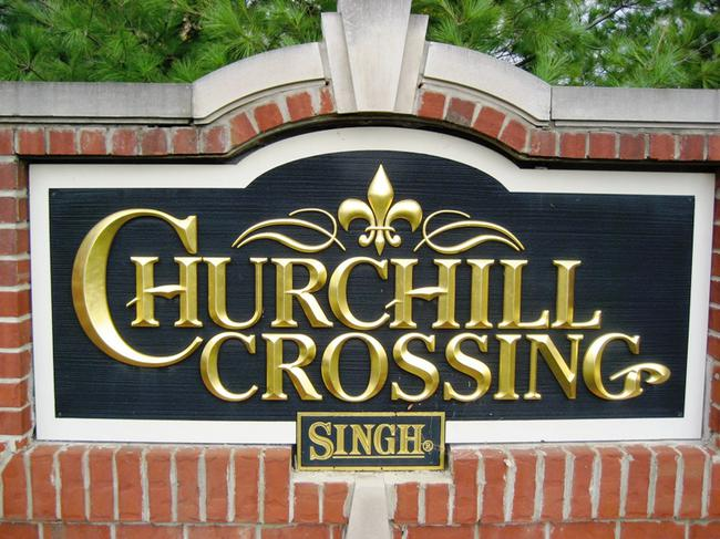 Churchill Crossing, Novi MI. Subdivision entrance.