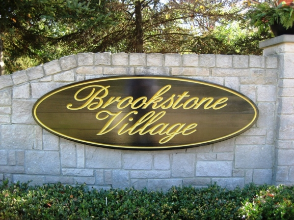 Brookstone Village, Northville MI neighborhood. Subdivision entrance.