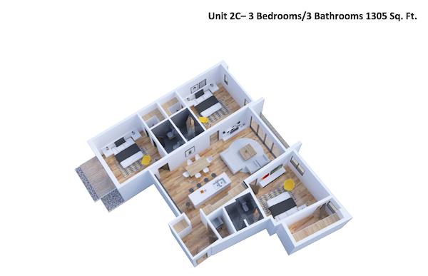 3D view of unit 2C
