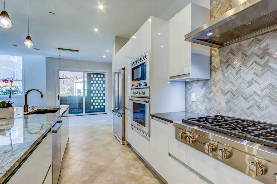 luxury kitchen with white cabinets