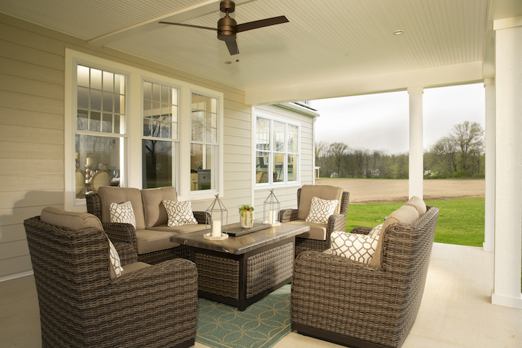 Outdoor patio with lounge setup