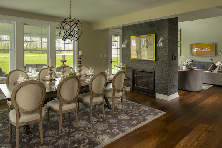 View of dining room and fireplace open concept