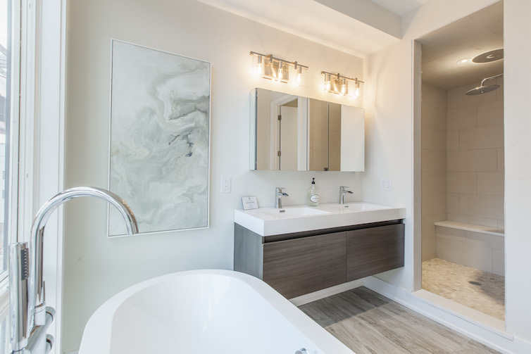 Liberty Square modern master bathroom