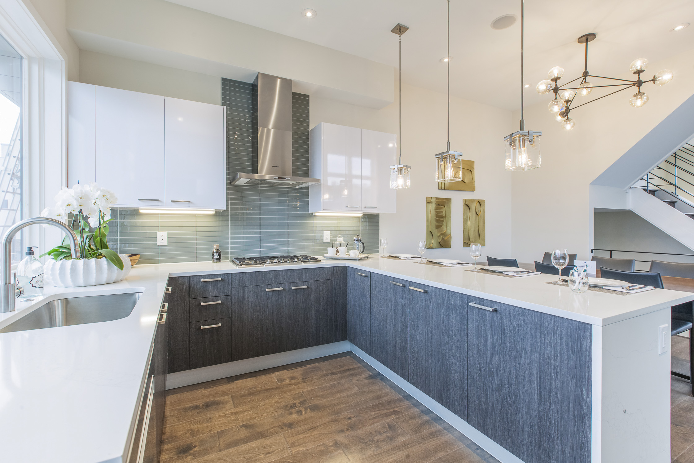 kitchen with grey cabinets in Liberty Square