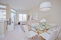 Bright dining room and living room