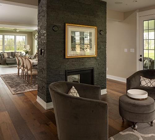open floor plan with fireplace