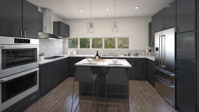 Regent Row modern black and granite kitchen