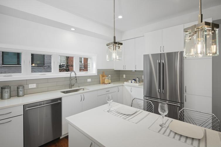 Regent Row inside of white kitchen