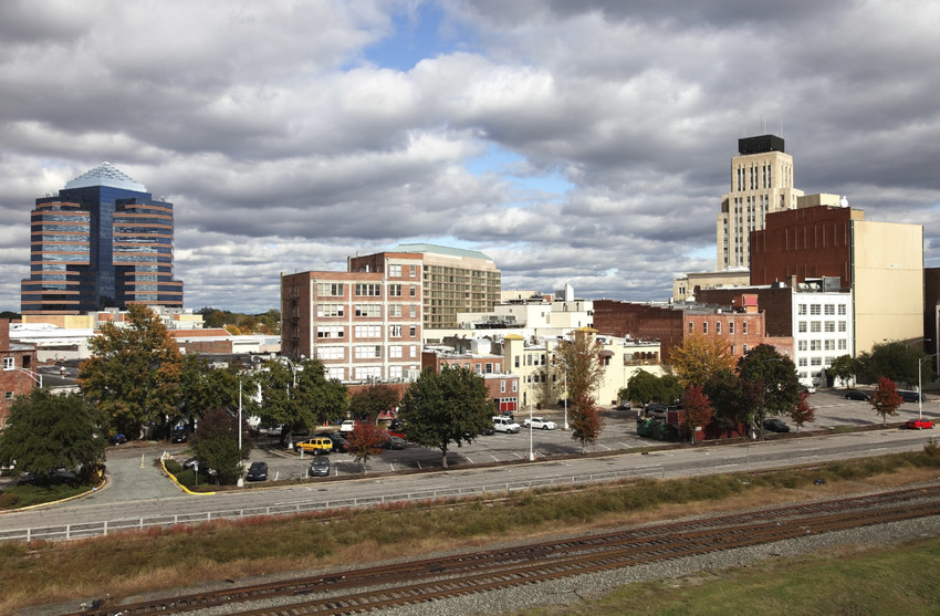 downtown durham view from American Tobacco parking deck