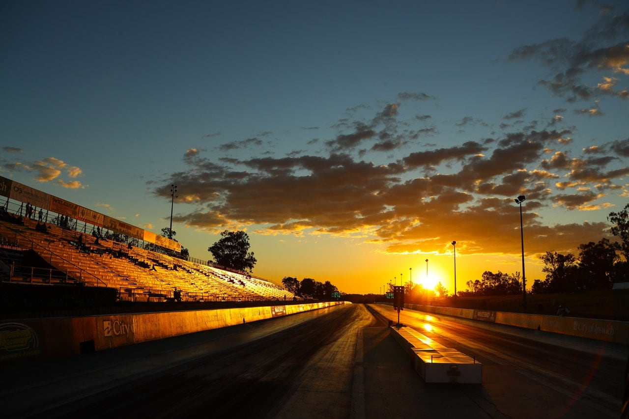 Racetrack at sunset