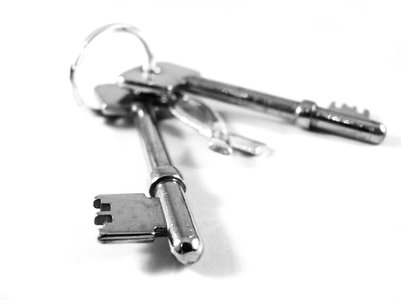 silver keys on a keychain