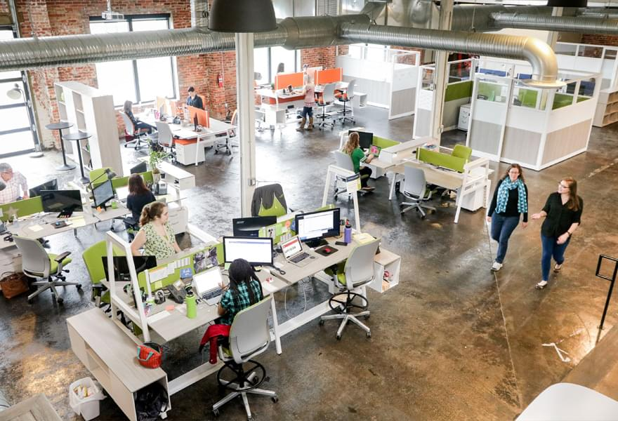 Overhead view of workspace