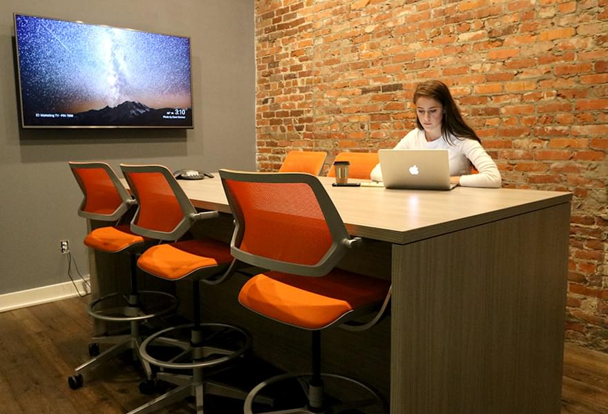 Person working in meeting room