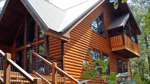 Large log cabin exterior