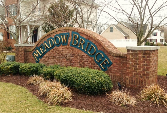 Entrance to Meadow Bridge  in Fruitland MD.