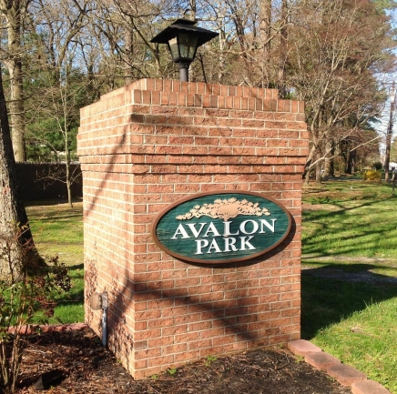 Avalon Park neighborhood entrance Salisbury MD