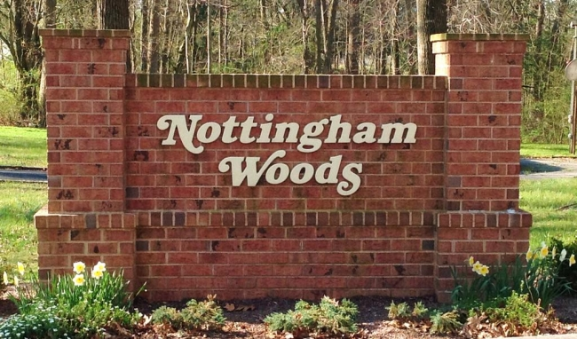 Entrance to Nottingham Woods neighborhood in Salisbury MD