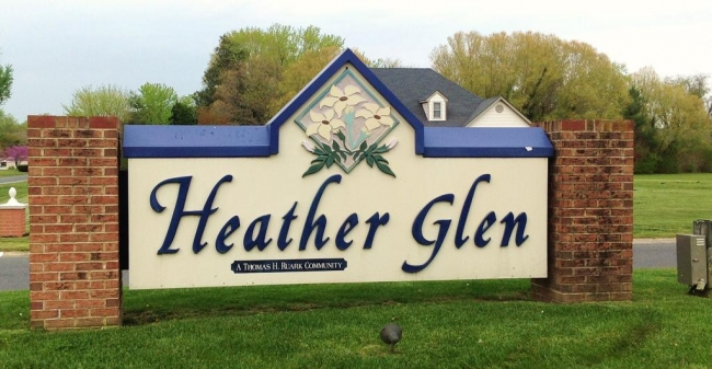 Entrance to the Heather Glen neighborhood in Salisbury Maryland