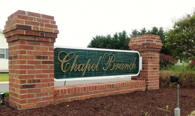 Entrance to the Chapel Branch neighborhood in Hebron MD