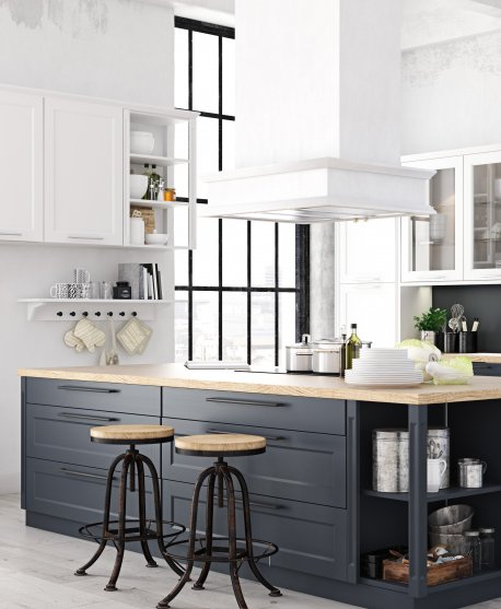 Bright kitchen with high ceilings and an island
