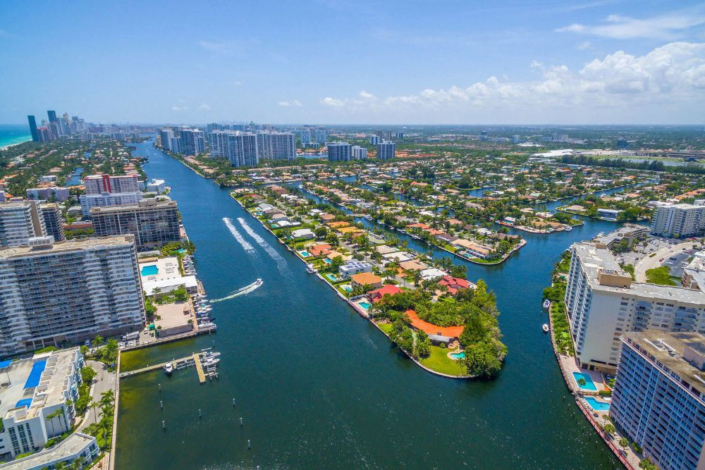 Aerial view of a canal separating Hallandale Beach from the mainland.