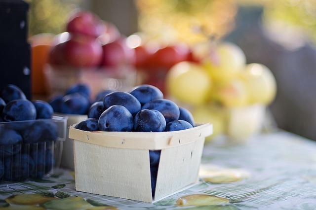 fresh blue berries at a festival