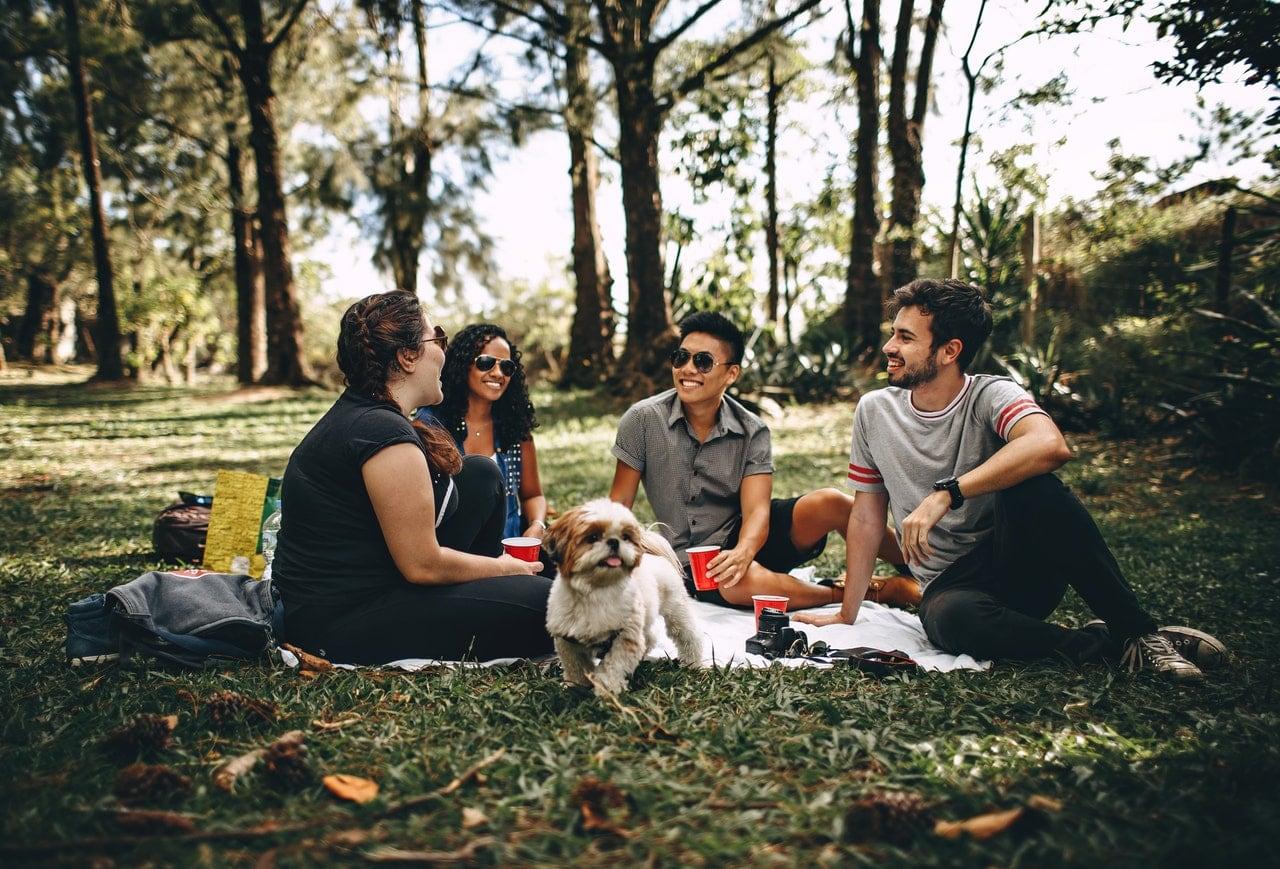 Friends enjoying a picnic outside.