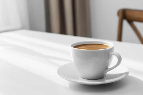 coffee in cup on white table