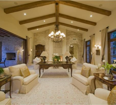 Luxurious living room with lofty ceilings