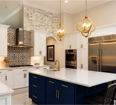 Large kitchen with gold accents