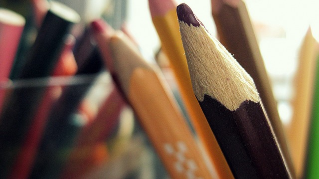 Closeup of the tip of a brown colored pencil.