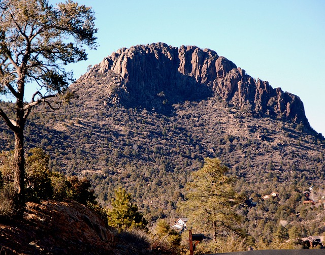 View of Thumb Butte in Prescott, AZ when viewed from the ground.