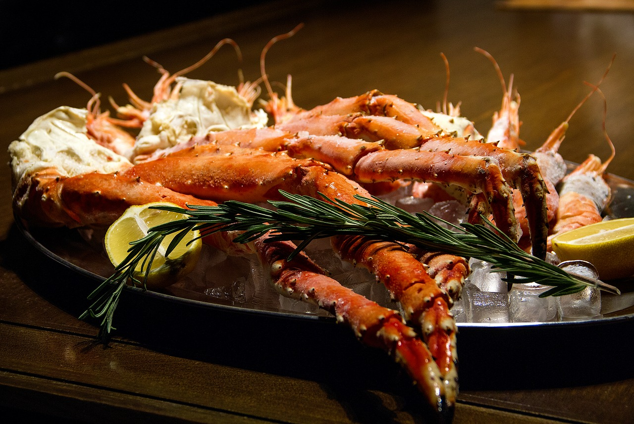Plate of crab legs.
