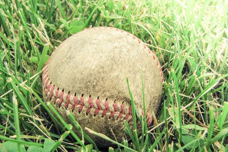a baseball on a field